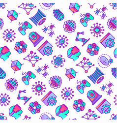 cyber technology seamless pattern with thin line vector image