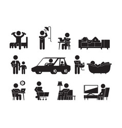 Daily lifestyle icon man or woman routine vector