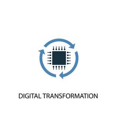 Digital transformation concept 2 colored icon vector