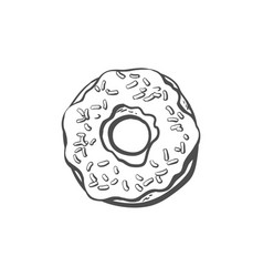 Donut with glaze icing sprinkles isolated vector