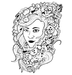 Doodle woman hand-drawn vector