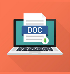 download doc button on laptop screen downloading vector image