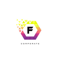 f colorful hexagon shaped letter logo design vector image
