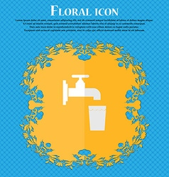 faucet glass water Floral flat design on a blue vector image