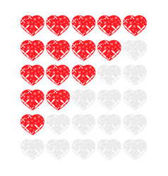 Five hearts rating icons evaluation of the hotel vector
