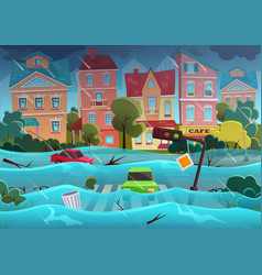 Flood natural disaster in cartoon city concept vector