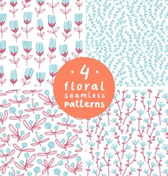 Floral patterns set 3 vector image