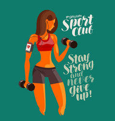 Girl or young woman raises dumbbells fitness gym vector