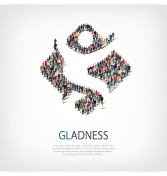 Gladness people sign 3d vector