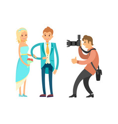 groom in blue suit and bride wearing wedding dress vector image