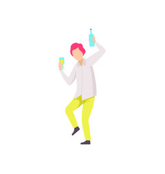Guy dancing and drinking beer at party young man vector