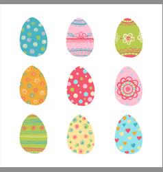 Hand drawn easter eggs set vector