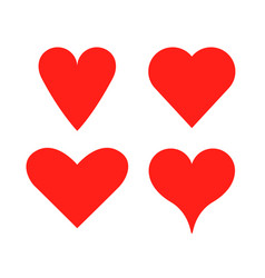 heart shape love icon red heart set vector image