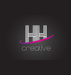 hh h h letter logo with lines design and purple vector image
