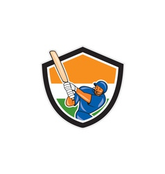 India Cricket Player Batsman Batting Shield vector image
