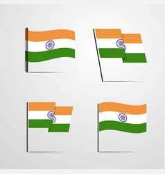 India waving flag set design vector