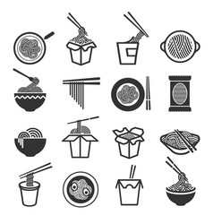 instant noodles icon set vector image