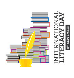 international literacy day poster with pile vector image