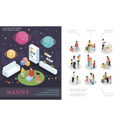 Isometric nanny work concept vector