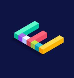 letter e isometric colorful cubes 3d design vector image