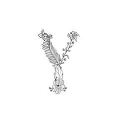 letter y floral ornament vector image