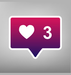 like and comment sign purple gradient vector image