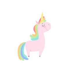Lovely unicorn cute fantasy animal character with vector
