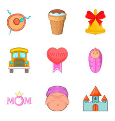 Loving mom icons set cartoon style vector