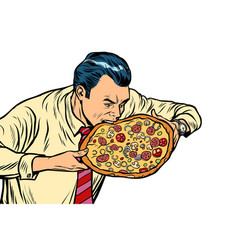 Man eating pizza isolated on white background vector
