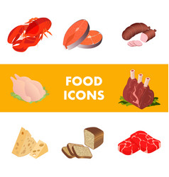 meat marine products realistic set vector image