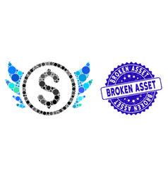 Mosaic angel investment icon with scratched broken vector