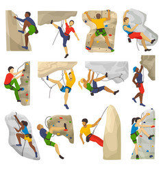 Mountain climbing climber climbs rock wall vector