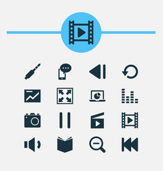 Multimedia icons set collection mobile content vector