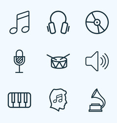 Music outlines set collection of plastic barrel vector