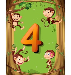 Number four with 4 monkeys on the tree vector
