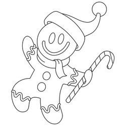 outlined gingerbread man with santa hat vector image