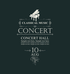 Poster for concert classical music with piano vector