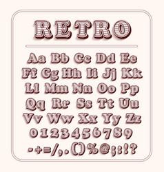 Retro font on light red background alphabet vector
