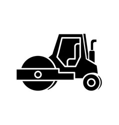 Road roller black glyph icon compactor type vector