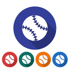 round icon of baseball flat style with long vector image