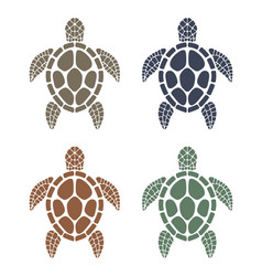 sea turtle colorful icons vector image