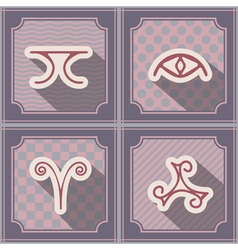 Seamless background with pagan symbols vector image