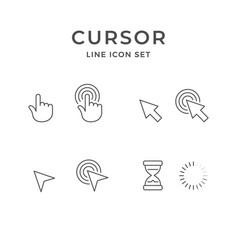set line icons cursor click vector image