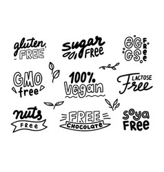 set monochrome labels for allergen products vector image