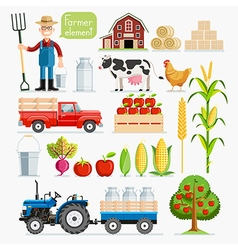Set of farmer element Farmer and Farm animals vector