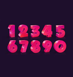 set of ten numbers form zero to nine vivid neon vector image
