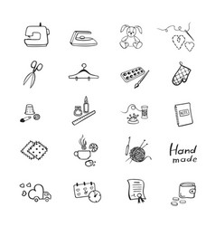 Set with outline icons of sewing equipment and vector