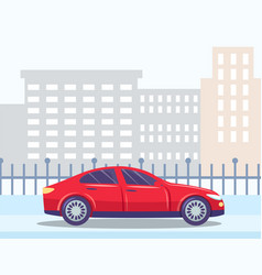 skyline with buildings and car on road city center vector image