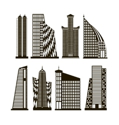 Skyscrapers icons set vector