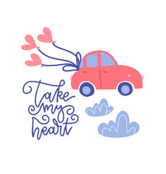 Small car with red heart balloons in doodle flat vector